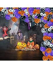 100pcs Halloween Balloon Arch Garland Kit, Black Orange Purple Confetti Balloons with Spider Web Eyeball Skull Mylar Spider for Halloween Birthday Party Decorations
