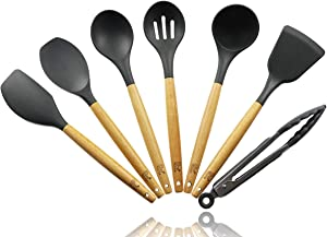 Kitchen Utensil Set, 7 Piece Kitchen Utensils Wood and Silicone, Cooking tools | Kitchen Set (Charcoal Grey) - By Pro Elite