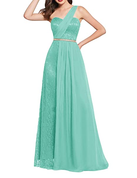 Uther Long Prom Dress One Shoulder Lace Chiffon Bridesmaid