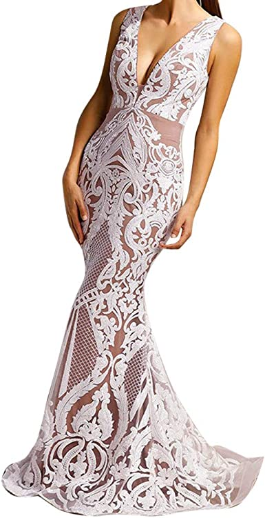 Vestido Maxi Fiesta Mujer Elegante, Gusspower Vestidos largas Boda ...