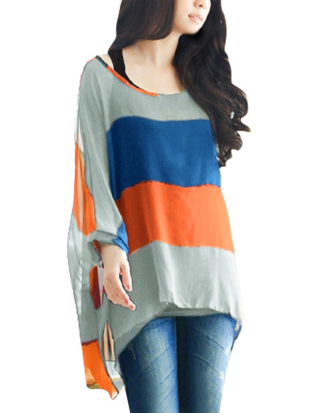 Allegra K Mujer a Granel Cuello de Barco Cape Mango de Colores a Rayas w Camiseta sin Mangas de Camisa Azul Cobalto 32: Amazon.es: Ropa y accesorios