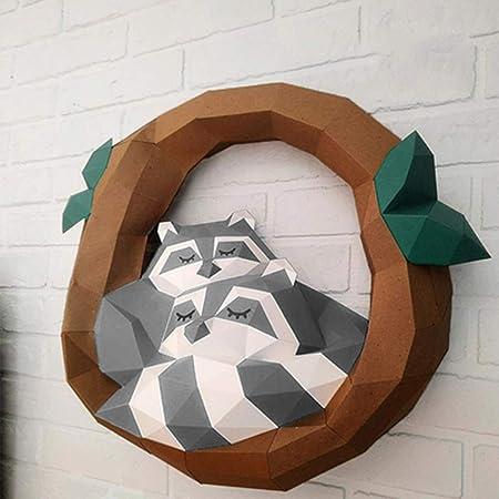Ultra WXMYOZR DIY Décoration Murale Raccoon Papier Trophée 3D Sculpture XX-53