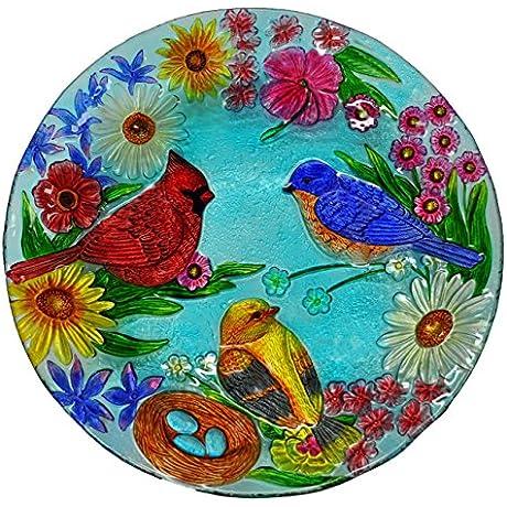Continental Art Center Cardinal Bluebird And Gold Finch Glass Plate 18 Inch