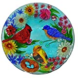 Continental Art Center Cardinal Bluebird and Gold Finch Glass Plate, 18-Inch