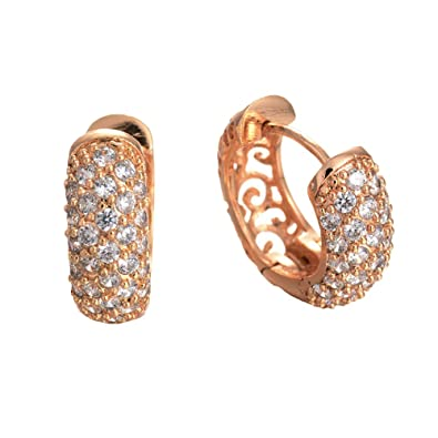 4721c6c63 ... of line clearance,18CT Rose Gold Filled sterling silver Diamond Sparkly  Crystal Filigree Circlet Small Hoop Pierced Earrings: Amazon.co.uk:  Jewellery