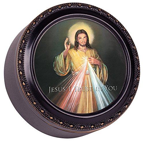 Cottage Garden Divine Mercy Jesus I Trust in You Black Rope Trim Petite Round Jewelry and Keepsake Box