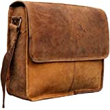 TUZECH Genuine Buffalo Leather Bag Handmade/Satchel/Messenger/Unisex/Half Flap/Shoulder Bag Fits Laptop Up to (13 Inches)