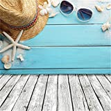 Lfeey 5x5ft Summer Seaside Wood Backdrop for Photography Nautical Style Blue Wooden Wall Floor Starfish Sunglasses Straw Hat Photo Background for Portrait Kids Children Party Photo Shoot Studio Props