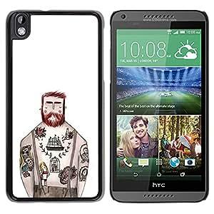Be-Star Único Patrón Plástico Duro Fundas Cover Cubre Hard Case Cover Para HTC DESIRE 816 ( Tattoo Captain White Ink Rustic Man )