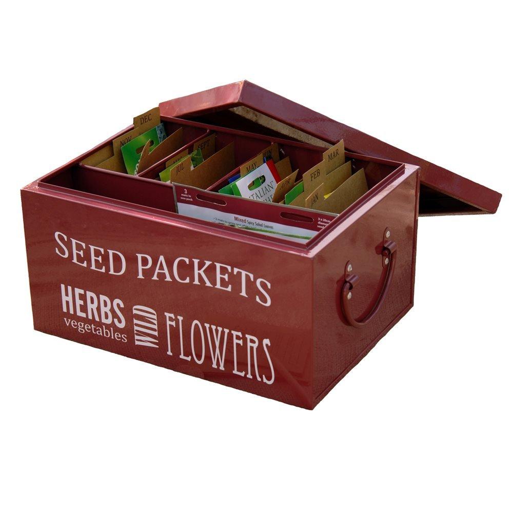 seed packet organiser in burgundy by burgon and ball Burgon & Ball