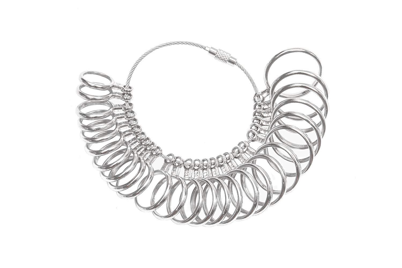 DoGeek Ring Sizer scale di misura strumenti per misurare gli anelli diametri strumenti di dimensionamento delle dita UK Taglie A-Z Metal Steel ON-Ring Sizer-Metal