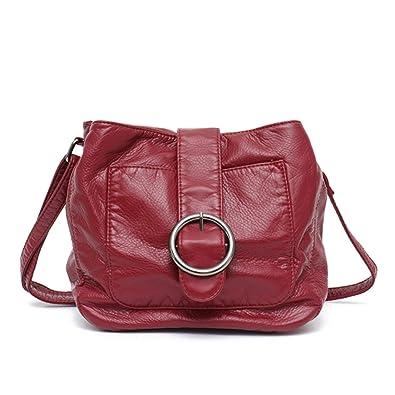 946771c968e0 Brand Candy Color Messenger Bag Wash Pu Leather Girls Soft Handbag ...