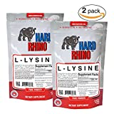 Hard Rhino L-Lysine Powder, 250 Grams (8.8 Oz), Unflavored, Lab-Tested, Scoop Included