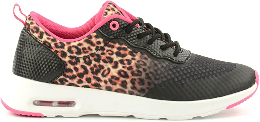 Running Shoes in Leopard Print Black