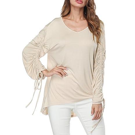 Camiseta de Manga Larga para Mujer, BBestseller Ropa Camisetas Mujer, Camisa Blusa Vendaje con Cuello en V de Mujer Manga Larga Tops de Color Puro Camiseta ...