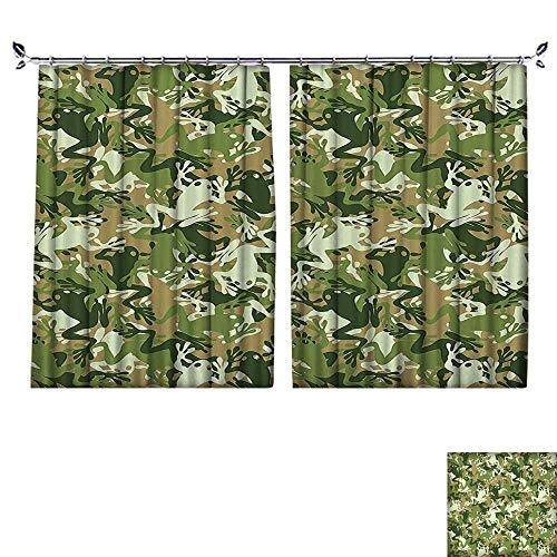 PRUNUS Window Curtain Drape with Hook Skull Camouflage Military Design with Various Frog Pattern Different Tones Artprint Sage P Available in a Variety of Colors,W72 xL45
