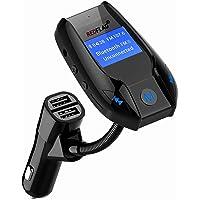 REDFLAG Transmisor de FM Bluetooth Adaptador de Radio Juego de Coche con 5V/3A Cargador de Coche USB Reproductor de MP3 con 2 puertos USB y tarjeta de entrada AUX y salida TF, visualización grande de 1,44 pulgadas.
