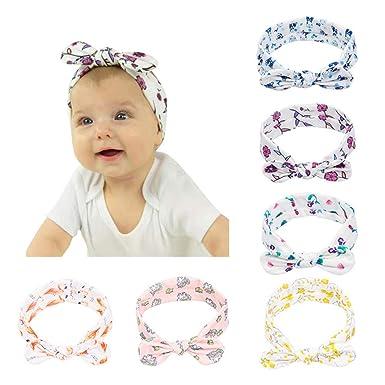 8cfd14f14613c5 CANSHOW 6 Stück Baby Stirnbänder Mädchen weich Baumwolle Haarband Stirnband  Madchen Turban Babygeschenke (Floral hairband