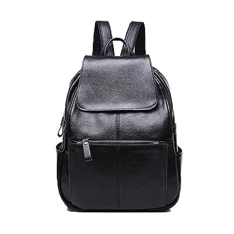 f0c8601ad0 Amazon.com  NIGEDU Women Backpacks Simple Genuine Leather Backpack School  Bag Large Travel Bag (Black)  Toys   Games