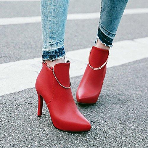 Carolbar Womens Kedjor Pekade Tå Sexiga Mode Stilettos Datum Stövlar Rött