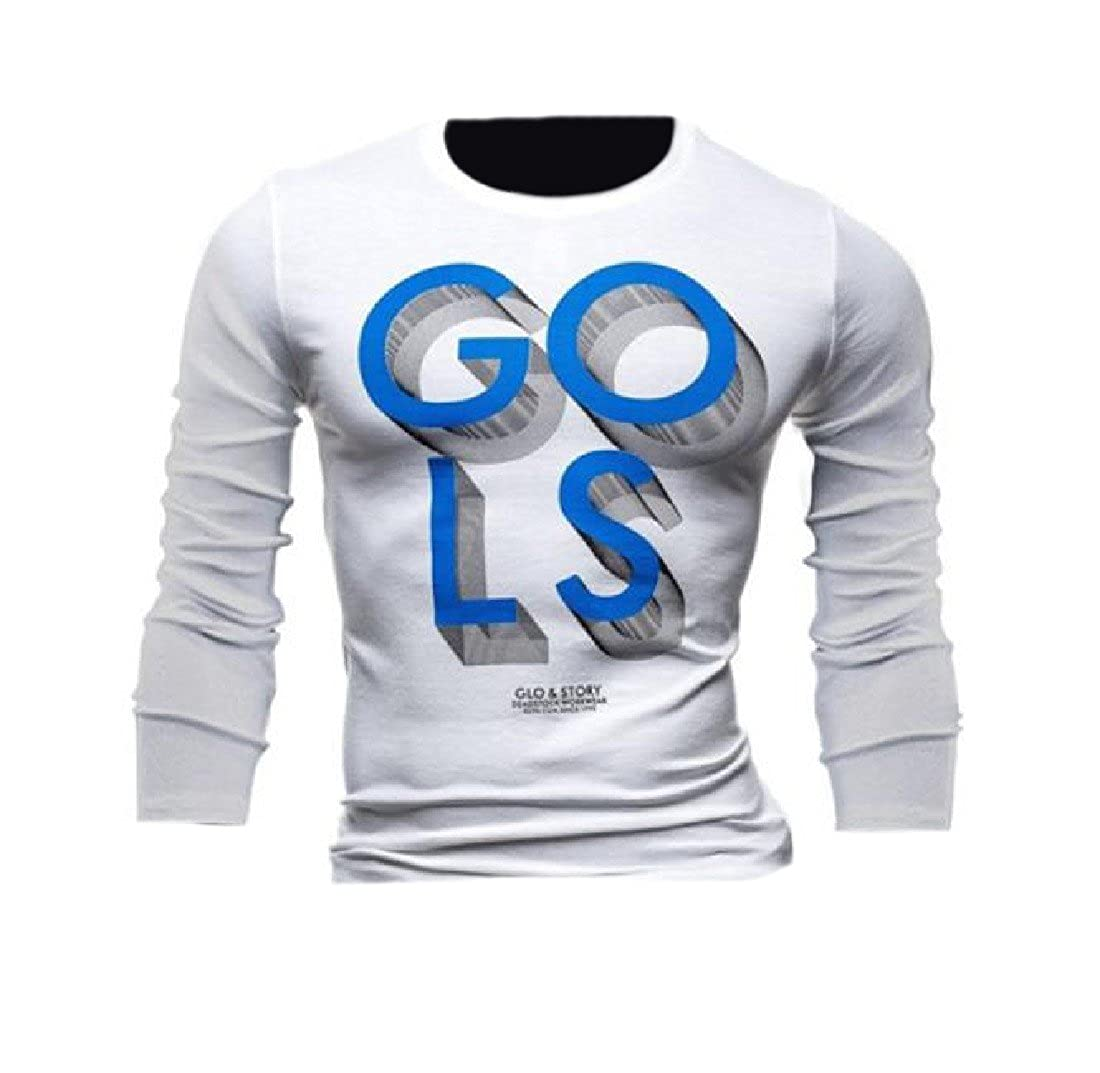 Honey GD Mens Cotton Pullover Crew Neck Letters Printed T-Shirt Top