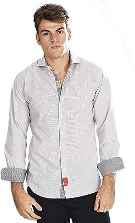 Camisa Manga Larga Blanca de Vestir, Slim fit, con Cuadros Finos en Color Negro para Hombre - 2_S, Negro: Amazon.es: Ropa y accesorios
