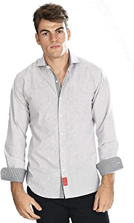 Camisa Manga Larga Blanca de Vestir, Slim fit, con Cuadros Finos ...