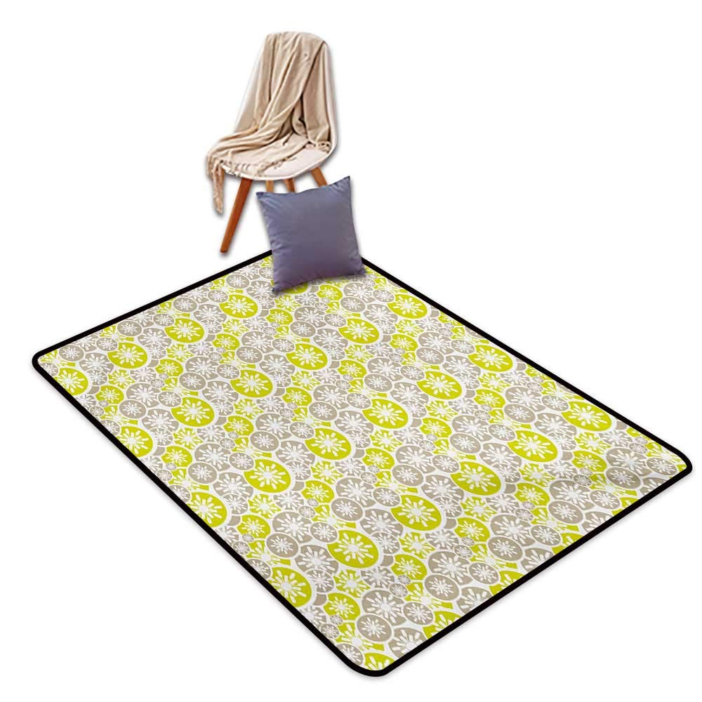 """Abstract Entrance Door mat Pale Retro Floral Designs in Circles Asian Japanese Inspired Blossom Water Absorption, Anti-Skid and Oil Proof 40"""" Wx63 L Tan Yellow Green White"""