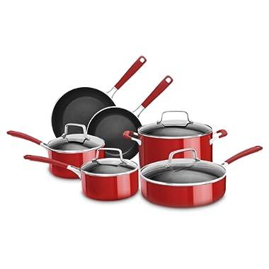 KitchenAid KC2AS10ER 10 Piece Aluminum Nonstick Set, Empire Red, Large