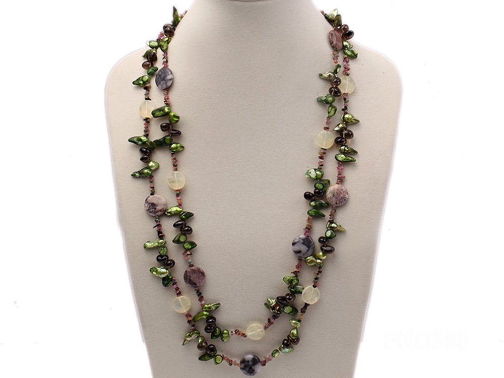 JYX 9-16mm Green Tooth Freshwater Pearl with Natural Smoky Quartz and Tourmline Chips Opera Necklace 60''