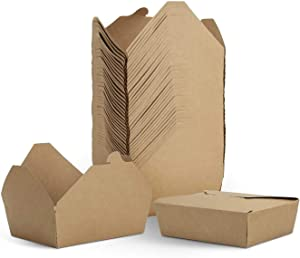 Microwaveable Food Boxes (50 Pack),Kraft Brown Take Out Food Containers 45 Oz for Restaurant, Catering and Party (Medium)
