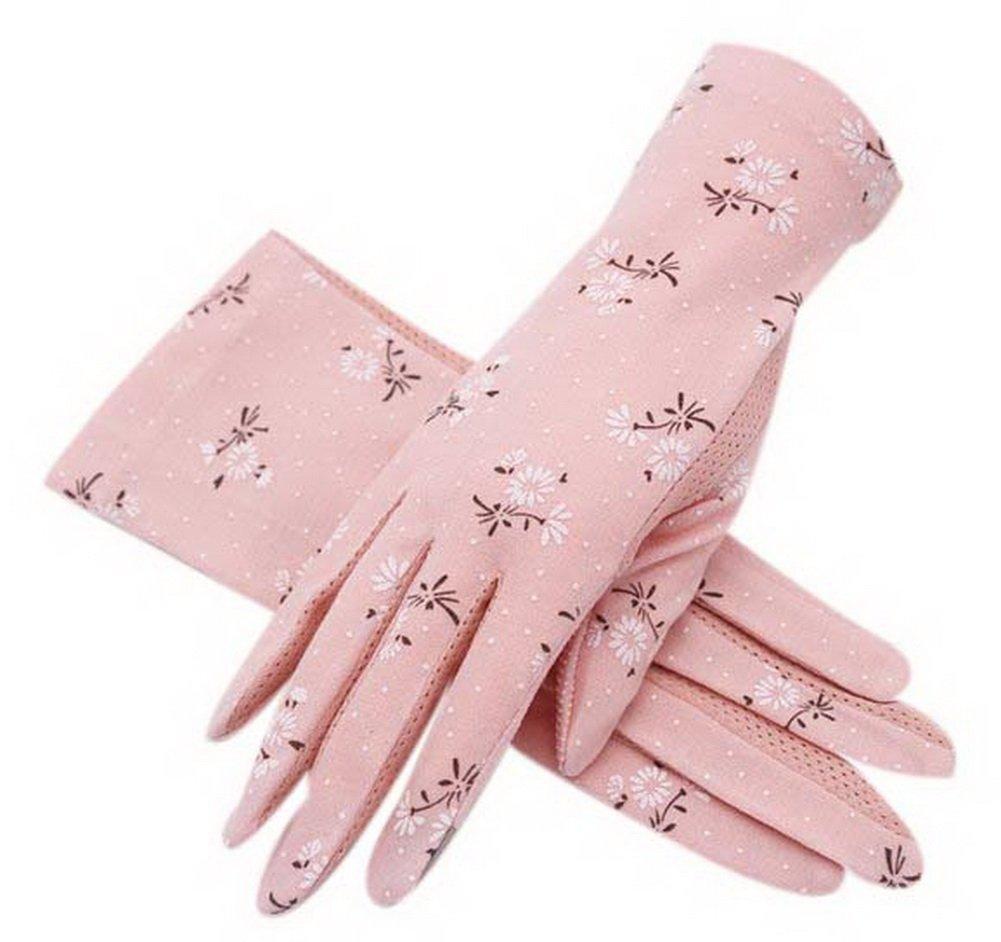 Driving Sunscreen Gloves Women's Cotton Short Dandelion Pattern Sun Gloves, Pink Gentle Meow