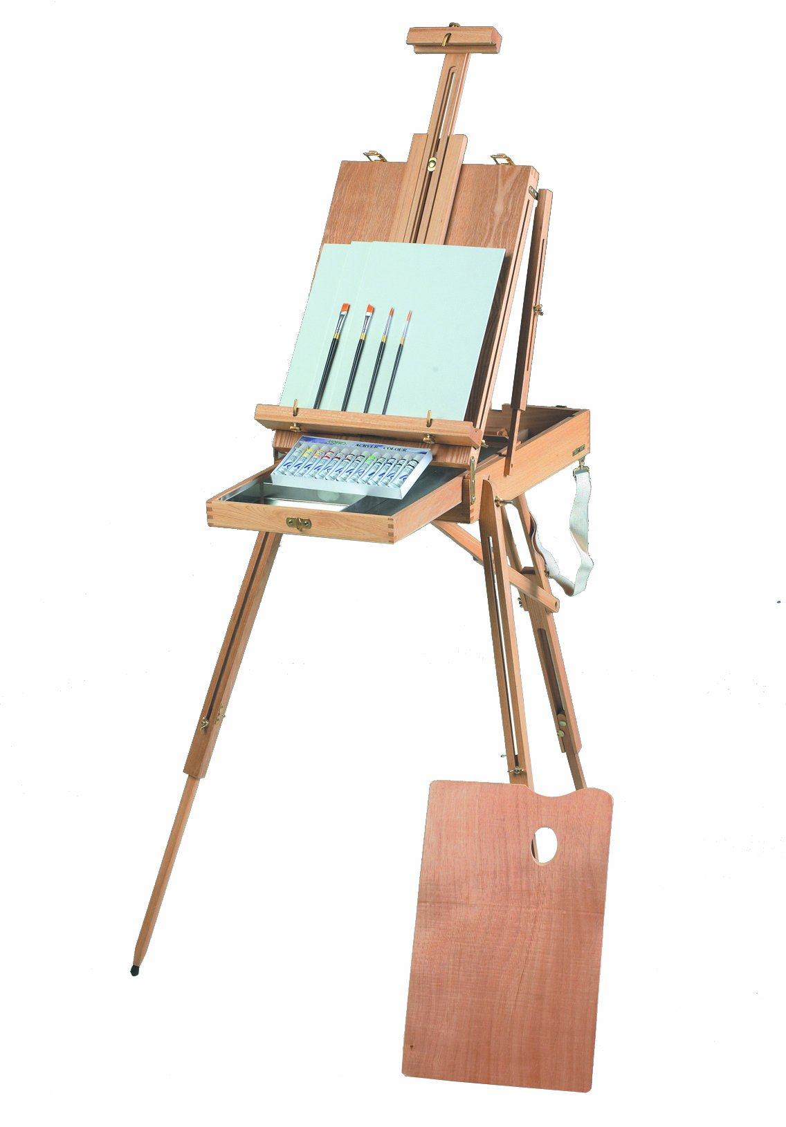 Martin Rivera Wooden Sketch Box Easel and Oil Painting Kit