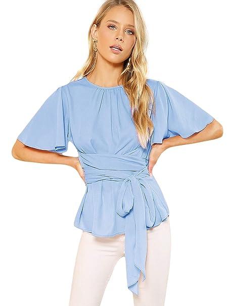 fac5880127 Romwe Women's Self Tie Wist Short Sleeve Casual Chiffon Blouse Tops