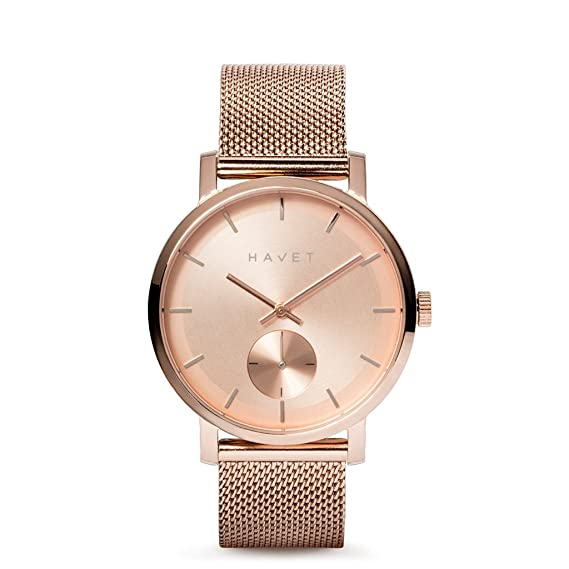 HAVET | Reloj de mujer Adra de acero color oro rosa y brazalete de malla: Amazon.es: Relojes