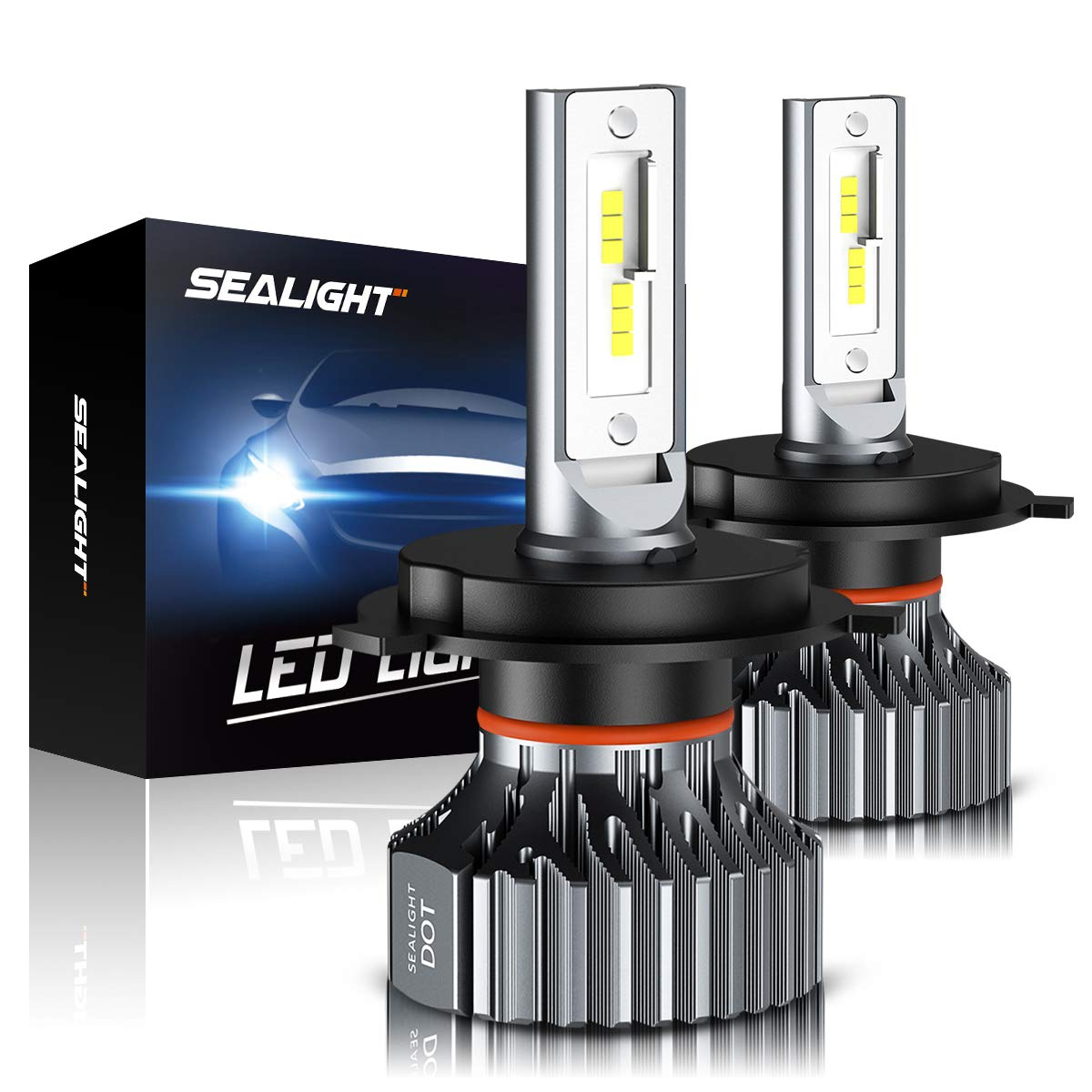 H4 9003 HB2 Led Headlight Bulbs, SEALIGHT Upgraded Super Bright 24x CSP Led Chips Headlight Kit -Hi/Lo Beam 6500LM 6000K White