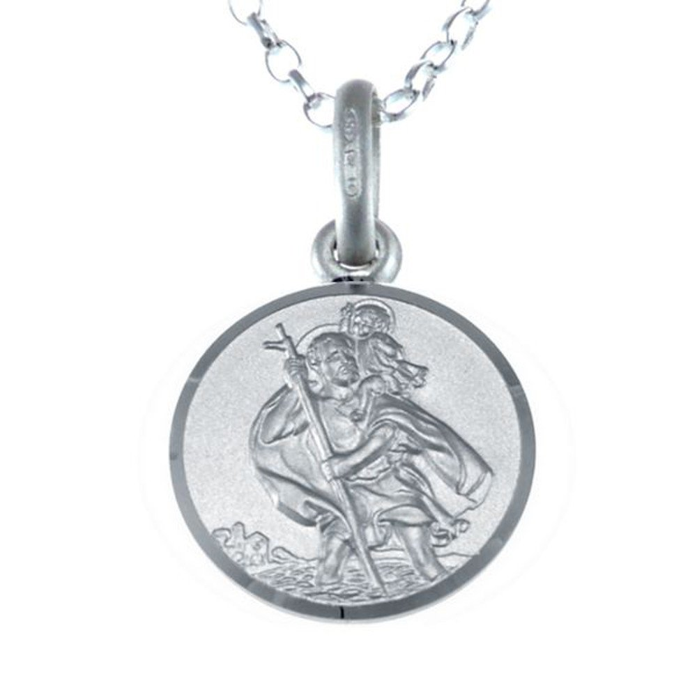 Children's Sterling Silver St Christopher Pendant & 16'' Chain - Gift for Christenings and Holy Communion by Alexander Castle (Image #1)