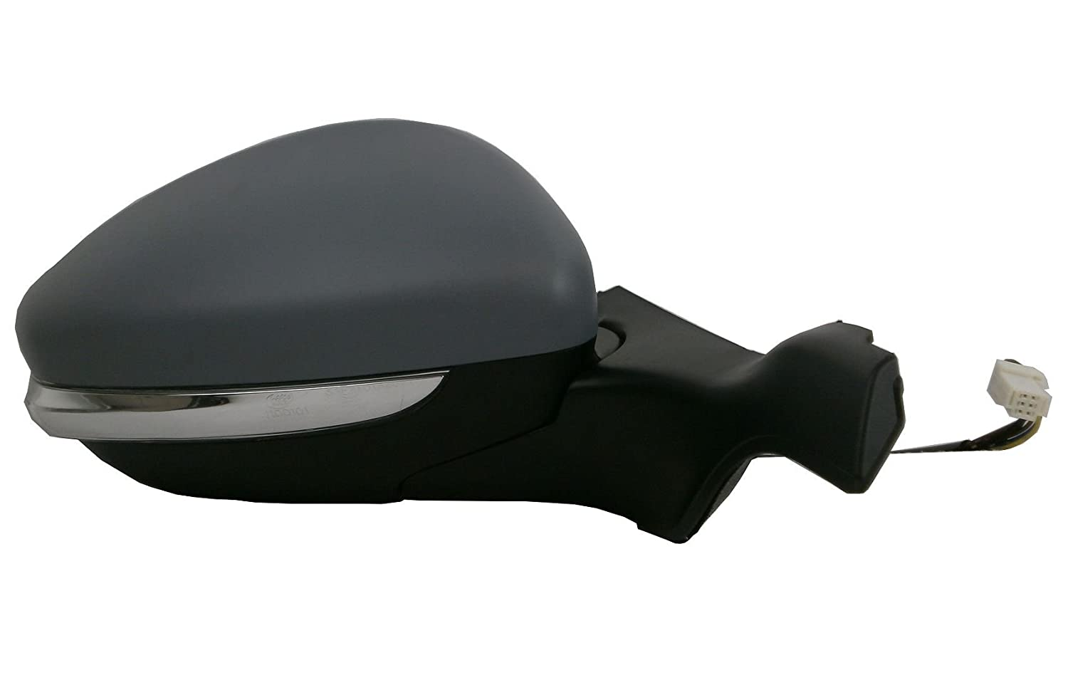 OS Driver Side Right Door Wing Mirror Electric Glass Black Primed Cover