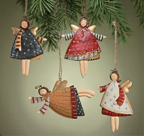 24 dancing angel ornament primitive rustic country christmas tree gift decor tin