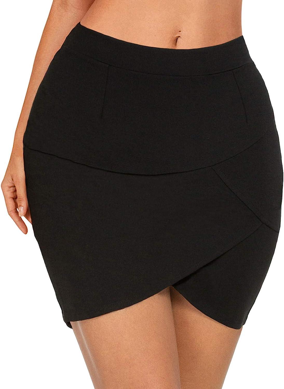Afibi Women High Waisted Above The Knee Stretch Bodycon Slim Mini Pencil Skirt