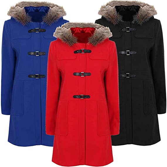 249ae121104aa Paramount Fur Hood PU Clasp Duffle Coat Plus Size  Amazon.co.uk ...
