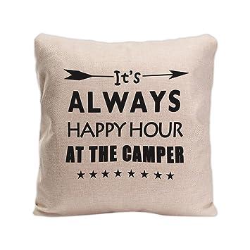 Amazon.com: GUGLILI Retro feliz Camper Live Here Funda de ...
