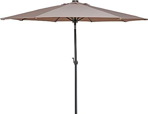 HERMO 123456 9 Ft Outdoor Solar Power LED Patio Umbrella, Beige