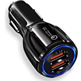 JOYSEUS Car Charger, 30W Dual USB Car Mobile Charger - QC 3.0 3.1A + Smart IC 3.1A, Car Charger Fast Charging Compatible with Samsung Galaxy, iPhone XR X 8 7 6 5, iPad, LG, Moto ETC(Black)