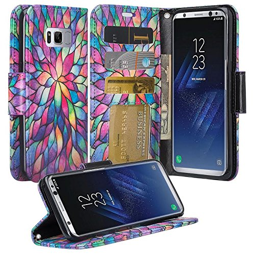 Galaxy S8 Case, Samsung Galaxy S8 Wallet Case, Wrist Strap Flip Folio [Kickstand Feature] Pu Leather Wallet Case with ID&Credit Card Slot For Galaxy S8 - Rainbow Flower