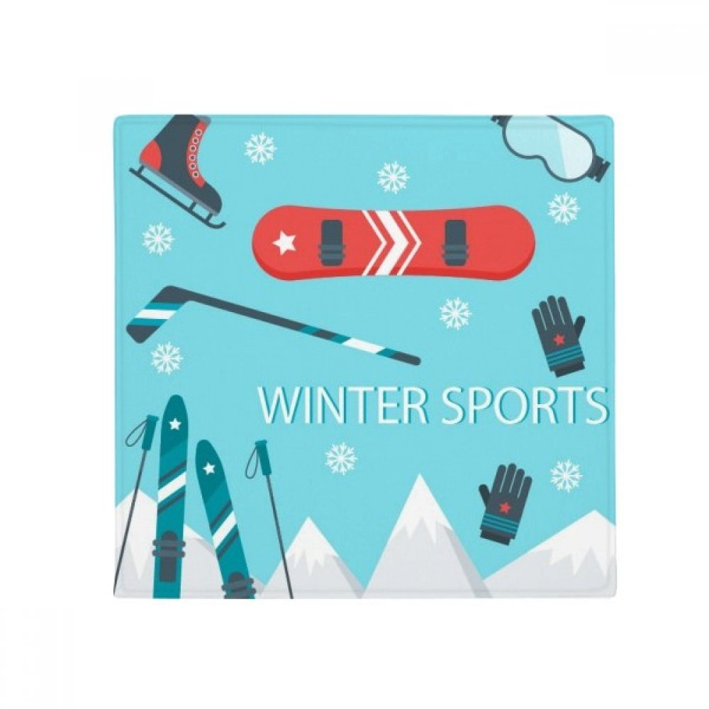 DIYthinker Sport Ski Equipment Cartoon Illustration Anti-Slip Floor Pet Mat Square Home Kitchen Door 80Cm Gift