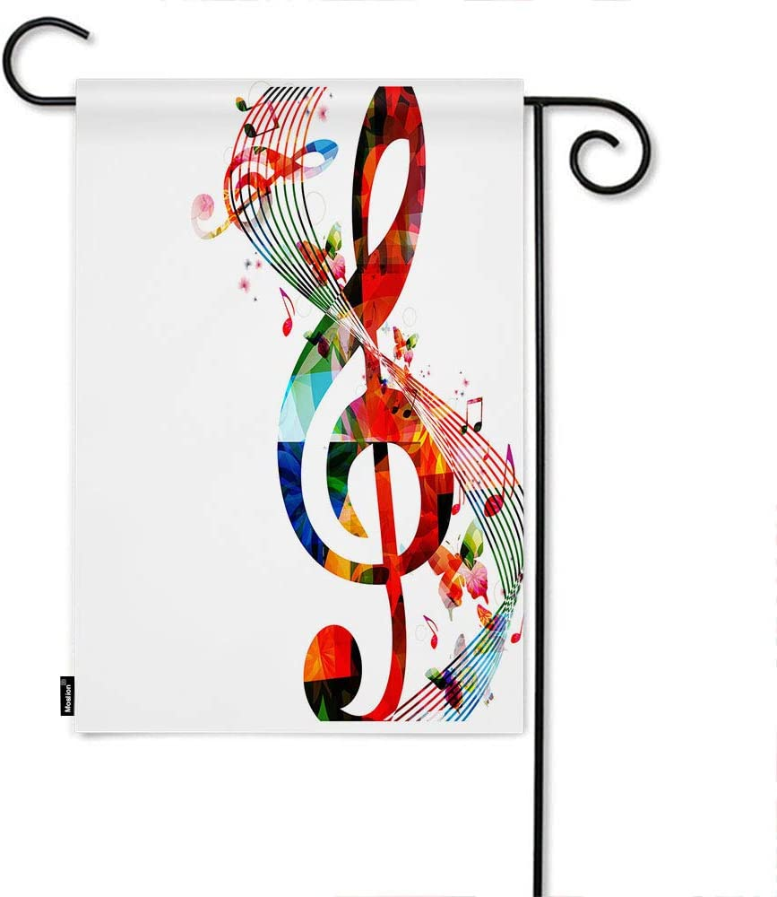 Moslion Music Garden Flag Artwork Musical Notes Rhythm Song Ornamental in Vibrant Colors Fantasy Home Flags 12x18 Inch Double-Sided Banner Welcome Yard Flag Outdoor Decor. Lawn Villa