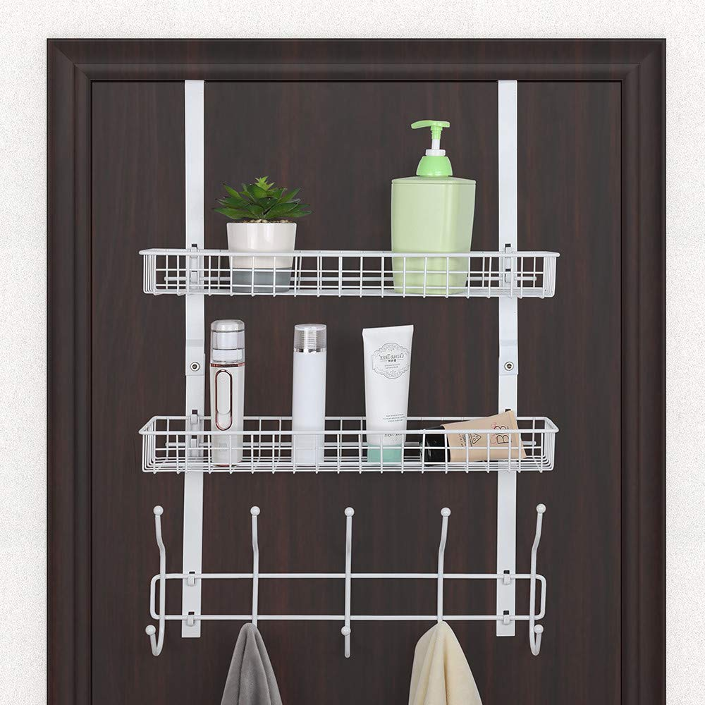Over The Door 5 Hook Shelf Organizer Hanger with 2 Mesh Basket Storage Rack for Bathroom Kitchen Storage Shelves Toiletries, White