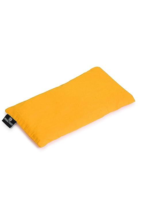 YogaStudio Almohadas de Ojos de Lavanda orgánica Francesa y linaza, Color Amarillo, tamaño 23cm x 12/13cm, Weight, 200g