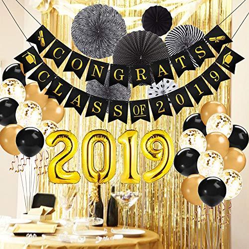 """Graduation Decorations 2019 Congrats Class of 2019 Banner/Black White Paper Fans/12"""" Black Gold Confetti Balloons/32"""" Gold 2019 Foil Balloons/Gold Foil Fringe Curtain Graduation Party Supplies 2019"""